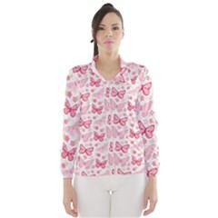 Cute Pink Flowers And Butterflies pattern  Wind Breaker (Women)
