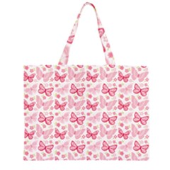 Cute Pink Flowers And Butterflies pattern  Large Tote Bag