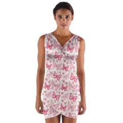 Cute Pink Flowers And Butterflies pattern  Wrap Front Bodycon Dress