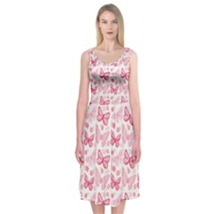 Cute Pink Flowers And Butterflies Pattern  Midi Sleeveless Dress