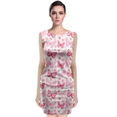 Cute Pink Flowers And Butterflies Pattern  Classic Sleeveless Midi Dress
