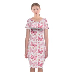 Cute Pink Flowers And Butterflies Pattern  Classic Short Sleeve Midi Dress