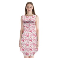 Cute Pink Flowers And Butterflies Pattern  Sleeveless Chiffon Dress