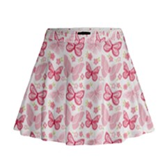 Cute Pink Flowers And Butterflies pattern  Mini Flare Skirt
