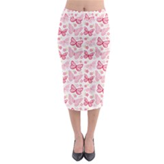 Cute Pink Flowers And Butterflies pattern  Midi Pencil Skirt