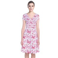Cute Pink Flowers And Butterflies Pattern  Short Sleeve Front Wrap Dress