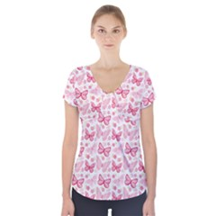 Cute Pink Flowers And Butterflies Pattern  Short Sleeve Front Detail Top