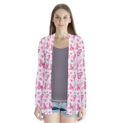 Cute Pink Flowers And Butterflies Pattern  Cardigans