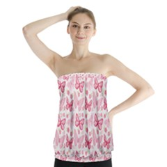 Cute Pink Flowers And Butterflies Pattern  Strapless Top