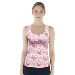 Cute Pink Flowers And Butterflies Pattern  Racer Back Sports Top