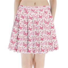 Cute Pink Flowers And Butterflies Pattern  Pleated Mini Skirt