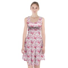 Cute Pink Flowers And Butterflies Pattern  Racerback Midi Dress
