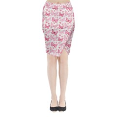 Cute Pink Flowers And Butterflies Pattern  Midi Wrap Pencil Skirt
