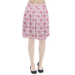 Cute Pink Flowers And Butterflies Pattern  Pleated Skirt