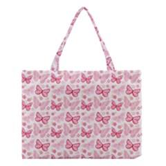 Cute Pink Flowers And Butterflies pattern  Medium Tote Bag