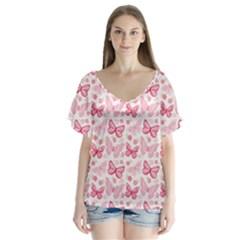 Cute Pink Flowers And Butterflies Pattern  Flutter Sleeve Top