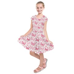 Cute Pink Flowers And Butterflies Pattern  Kids  Short Sleeve Dress