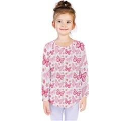 Cute Pink Flowers And Butterflies Pattern  Kids  Long Sleeve Tee