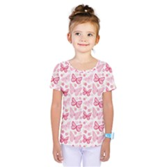 Cute Pink Flowers And Butterflies Pattern  Kids  One Piece Tee