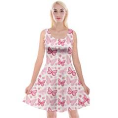 Cute Pink Flowers And Butterflies pattern  Reversible Velvet Sleeveless Dress