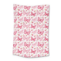 Cute Pink Flowers And Butterflies Pattern  Small Tapestry
