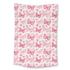 Cute Pink Flowers And Butterflies Pattern  Large Tapestry