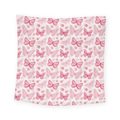 Cute Pink Flowers And Butterflies pattern  Square Tapestry (Small)