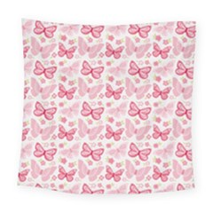 Cute Pink Flowers And Butterflies pattern  Square Tapestry (Large)