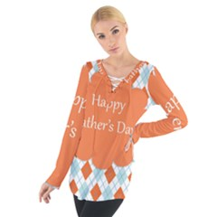 happy Father Day  Women s Tie Up Tee