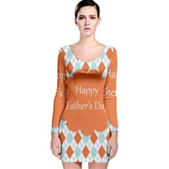 happy Father Day  Long Sleeve Velvet Bodycon Dress
