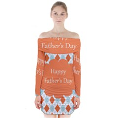 happy Father Day  Long Sleeve Off Shoulder Dress