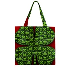 Shamrock Irish Ireland Clover Day Zipper Grocery Tote Bag