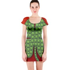 Shamrock Irish Ireland Clover Day Short Sleeve Bodycon Dress