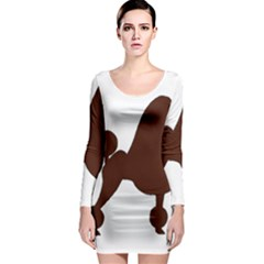 Poodle Brown Silo Long Sleeve Bodycon Dress