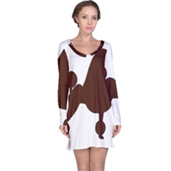 Poodle Brown Silo Long Sleeve Nightdress
