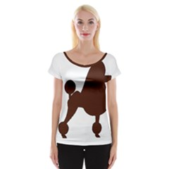 Poodle Brown Silo Women s Cap Sleeve Top