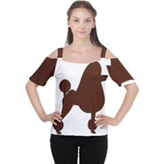 Poodle Brown Silo Women s Cutout Shoulder Tee