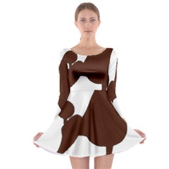 Poodle Brown Silo Long Sleeve Skater Dress