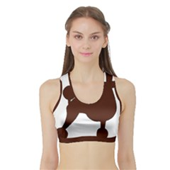 Poodle Brown Silo Sports Bra with Border