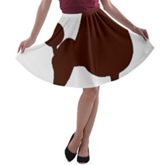 Poodle Brown Silo A-line Skater Skirt
