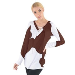 Poodle Brown Silo Women s Tie Up Tee