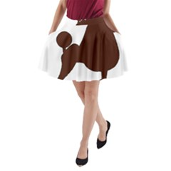 Poodle Brown Silo A-Line Pocket Skirt