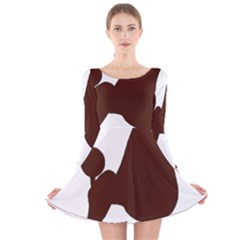 Poodle Brown Silo Long Sleeve Velvet Skater Dress