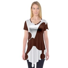 Poodle Brown Silo Short Sleeve Tunic