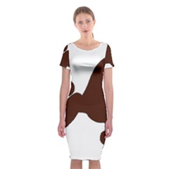 Poodle Brown Silo Classic Short Sleeve Midi Dress