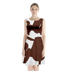 Poodle Brown Silo Sleeveless Chiffon Waist Tie Dress