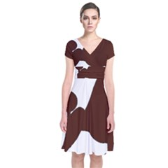 Poodle Brown Silo Short Sleeve Front Wrap Dress