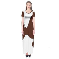 Poodle Brown Silo Short Sleeve Maxi Dress