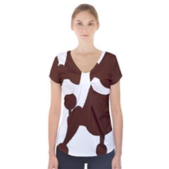Poodle Brown Silo Short Sleeve Front Detail Top