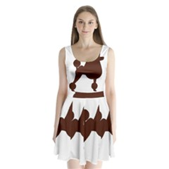 Poodle Brown Silo Split Back Mini Dress